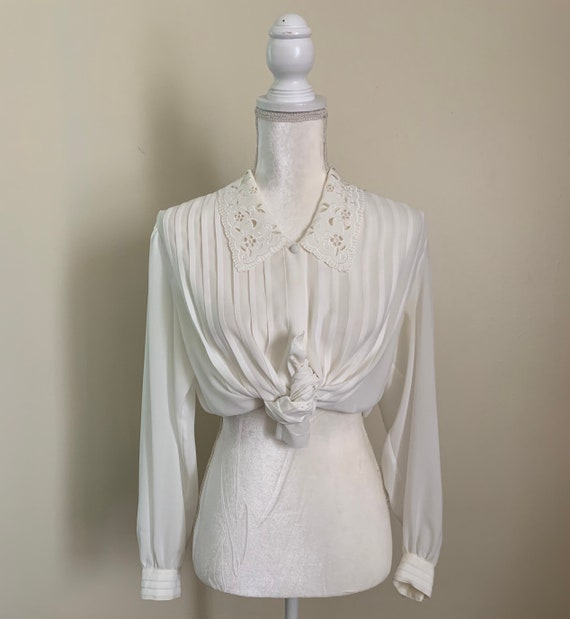 Vintage Sheer Cream Statement Collar Pleat Front … - image 1