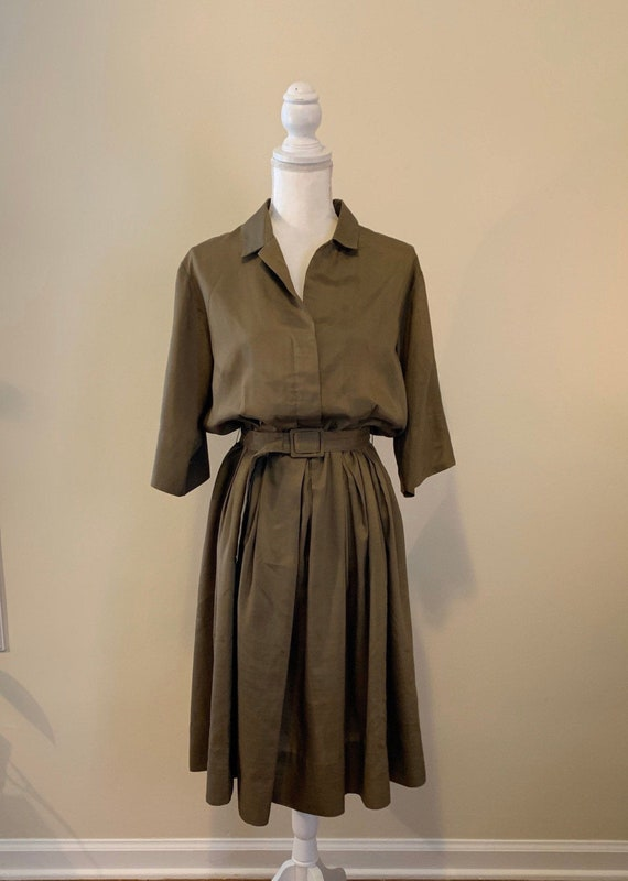 Vintage 50s Norman Wiatt Olive Green Belted Midi D