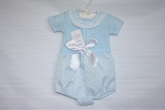 Baby Boys Light Blue Spanish Style Knitted Romper Short Sleeve Etsy