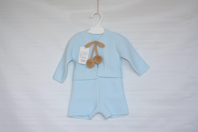 Spanish Style Baby Boy Blue Cardigan with Pom Poms.