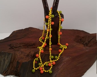 Vintage Orange and Lime Beaded Necklace, Bright Summer Colors Beaded Necklace, Extra Long Yellow Orange Lime Beaded Necklace,