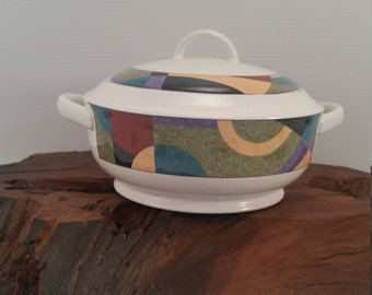 Vintage Lidded Casserole Dish Studio Nova Oven to Table Dish, Vintage Abstract Colorful Decorative Casserole Bowl, Mikasa Studio Nova Bowl