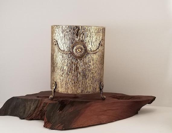 Vintage Hollywood Regency Gold Footed Waste Basket Vintage