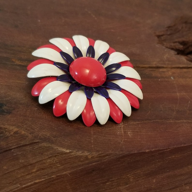 Bold 1970s Patriotic Brooch Patriotic Floral Brooch Holiday Jewelry Red White Blue Flower Brooch 4th of July Jewelry Patriotic Pin
