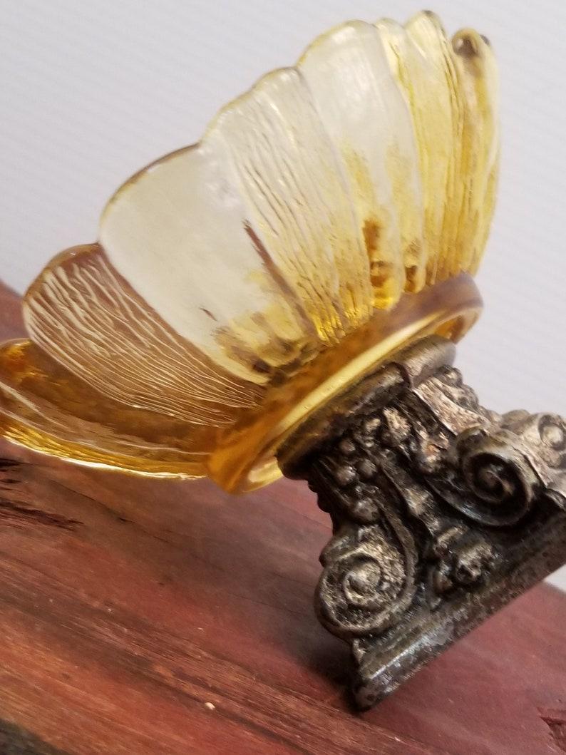Amber Glass Sunflower Trinket Dish Decorative Bowl Amber Sunflower Candy Dish on Metal Pedestal Vintage Sunflower Bowl on a Pedestal