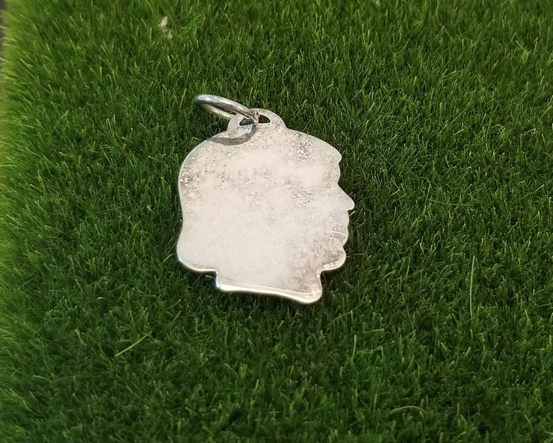 Vintage Girls Head Sterling Silver Charm Charm Sterling Girl Head Looking Left With Bob Cut Hairdo Girl Head Silhouette Charm