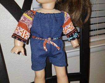 Denim retro doll ROMPER- Fits American Girl- 18 inch dolls- NEW!