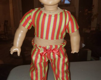 Striped crop top and pants - 18 inch dolls- new