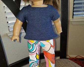 Denim top/retro pants- Fits American Girl- 18 inch dolls- NEW!