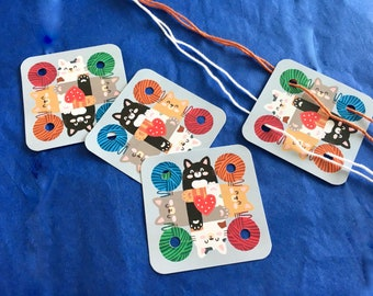 CARDS-Yarn Kitties-Set of 24 Small Weaving Cards-Original Design for Card Tablet Weaving-4 Holes Square-Double Sided Cardstock UV Coated