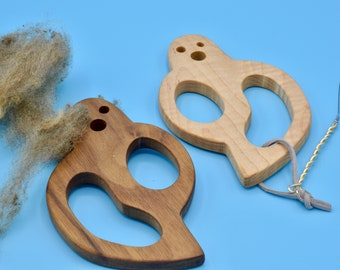TOOL-Boo! Diz with Included Threader for Creating Roving for Spinning - Available in 4 Different Beautiful Hardwoods