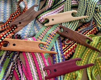 SHUTTLE-Finger Pick Shuttle in Multiple Exotic Hardwoods for Pick-up Weaving Work on Inkle, Card, Tablet, Tapestry, Peg, Small Looms