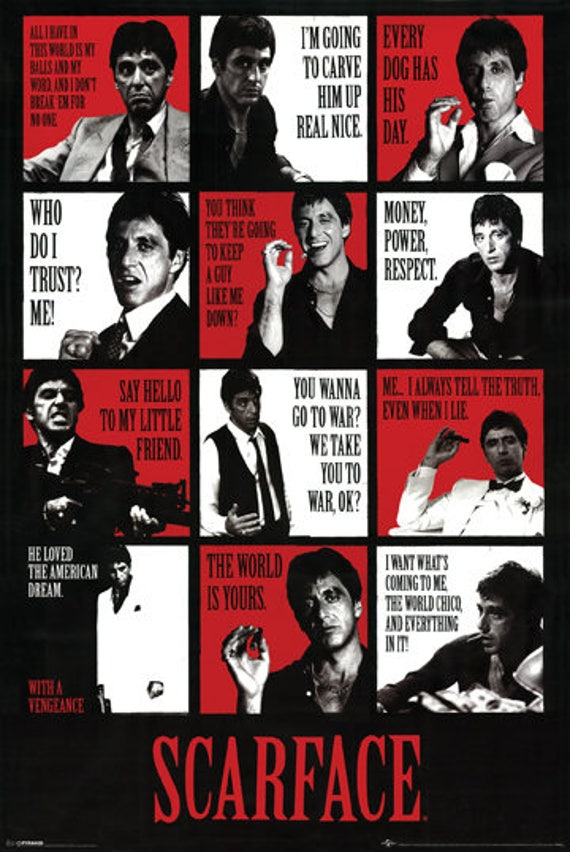 Scarface Poster Movie Quotes Al Pacino Large Print 24x36 Etsy