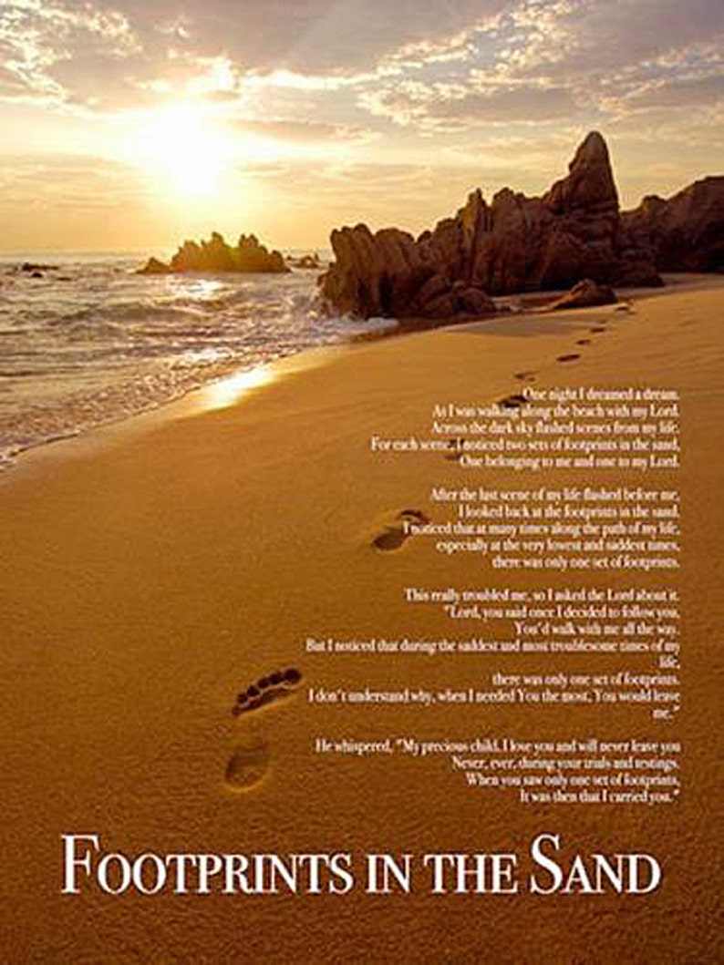 picture regarding Footprints in the Sand Poem Printable Version named Footprints within just the Sand Poster Print God Christian Inspirational Poem (18x24)