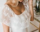 Bridal lingerie bodysuit, ruffle sleeve, lace ruffle sleeve, puff sleeve top, bodysuit with sleeves, sexy bridal lingerie, wedding night