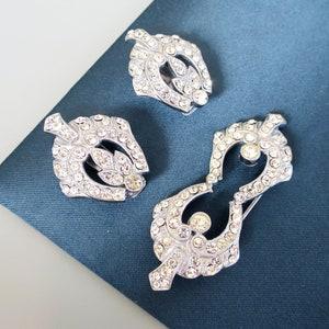 Art Deco Geometric Paste Double Dress Clip Brooch Duette