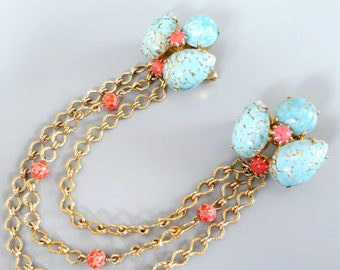 Vintage Faux Turquoise Chatelaine Brooch - Turquoise & Coral Art Glass Cardigan Clips / Sweater Guards - Chained Double Brooch