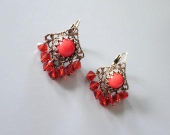 f085b5d5c Late Vintage Faux Coral Earrings - Signed Liz Palacios Earrings - Filigree  Style Coral Bead Tassel Earrings - Short Drop Hook Earrings