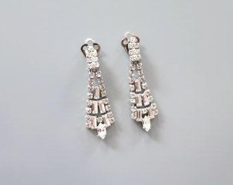 b26d4a0da Vintage Baguette Glass Earrings - Long Drop Earrings - Clear Crystal Clip  Earrings - Baguette Rhinestone Tassel Earrings - Art Deco Earrings