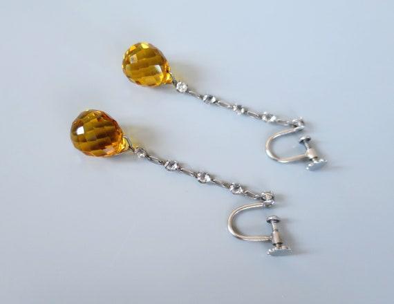 Art Deco PLATINON Earrings - Clear & Amber Crystal