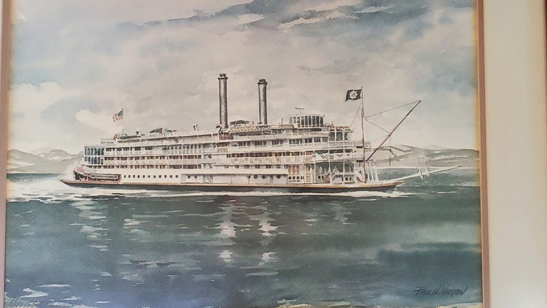 Mississippi Queen Watercolor Print by Paul N framed 30 x 24 River Steamboat Norton
