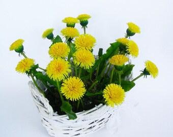 Dandelions-Polymer Clay Flowers-Floral arrangement -Flower Decor-Interior arrangement- Floral Dandelions-Mothers Day- Gift for Women- Gift