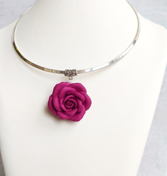 Burgundy necklace Rose necklace gift for women Boho Necklace Flower pendant Burgundy bridesmaid Clay necklace