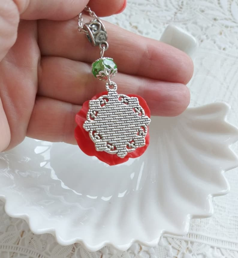 Polymer Clay Necklace Mother/'s day gift Red Poppy Necklace