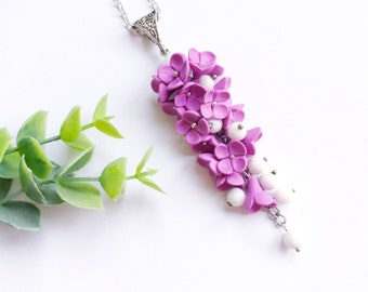Flower Necklace - Purple Necklace - Polymer clay jewelry - Gift for her