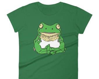 Stickyfrogs Green Tiny Frog Ladies T-shirt
