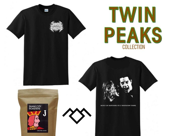 Featured listing image: Twin Peaks Collection Bundle - Shirt + 250g bag of Single Origin Malabar from Sham City Roasters, Craft Coffee Roasters