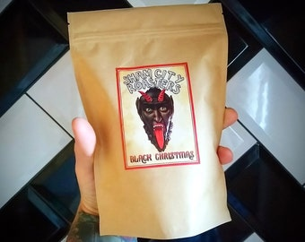 Black Christmas Single Origin Brazilian Cerado Peaberry Coffee From Sham City Roasters, Xmas, Christmas coffee, Krampus