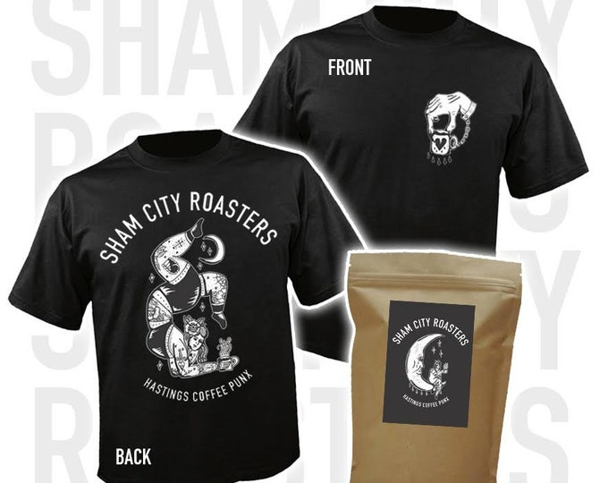 Featured listing image: Coffee Punx Bundle - Shirt + 250g bag of Single Origin Java From Sham City Roasters, Craft filter coffee roasted in Hastings, UK