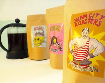 Filter Coffee, Freshly Roasted - 3 Coffee Sample Pack, Craft filter coffee roasted in Hastings, UK
