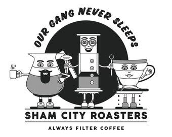 Our Gang Never Sleeps Bundle #1 T-Shirt and 3 x Badge Set, coffee, coffee gift, coffee gift set, coffee shirt