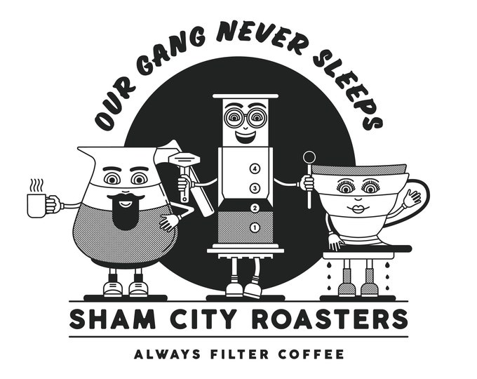PRE-ORDER** Our Gang Never Sleeps Bundle #1 T-Shirt and 3 x Badge Set, coffee, coffee gift, coffee gift set, coffee shirt
