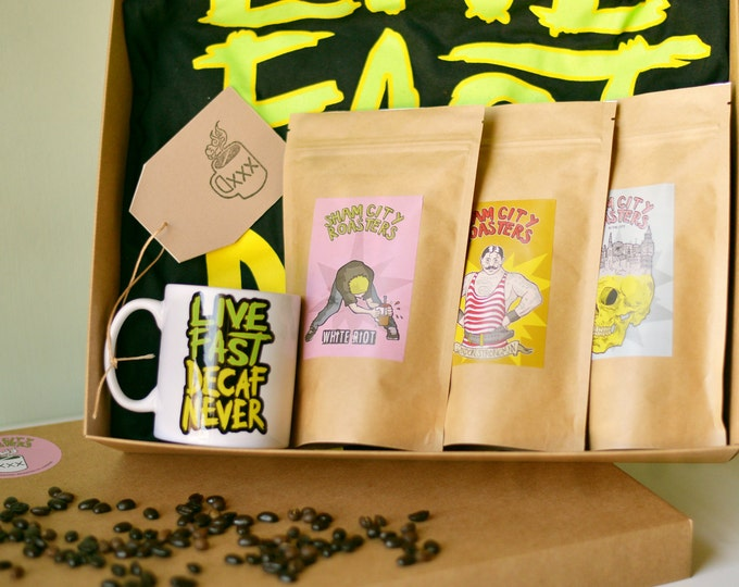 Coffee Gift Set - Live Fast Decaf Never, Coffee Gift box, Coffee Gift basket, Coffee Gifts From Sham City Roasters, Specialist Craft Coffee