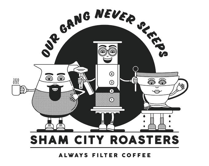 Our Gang Never Sleeps Bundle #3 T-Shirt, 3 x Badge Set and Enamel Aeropress Badge, coffee, coffee gift, coffee gift set