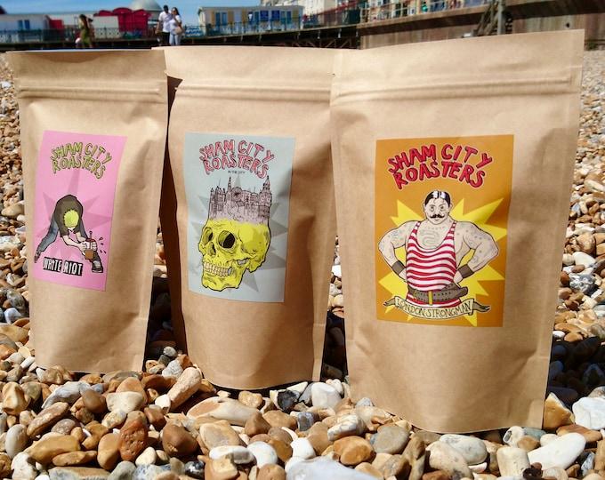 Featured listing image: Freshly Roasted Coffee - 3 Coffee Sample Pack, Craft filter coffee roasted in Hastings, UK