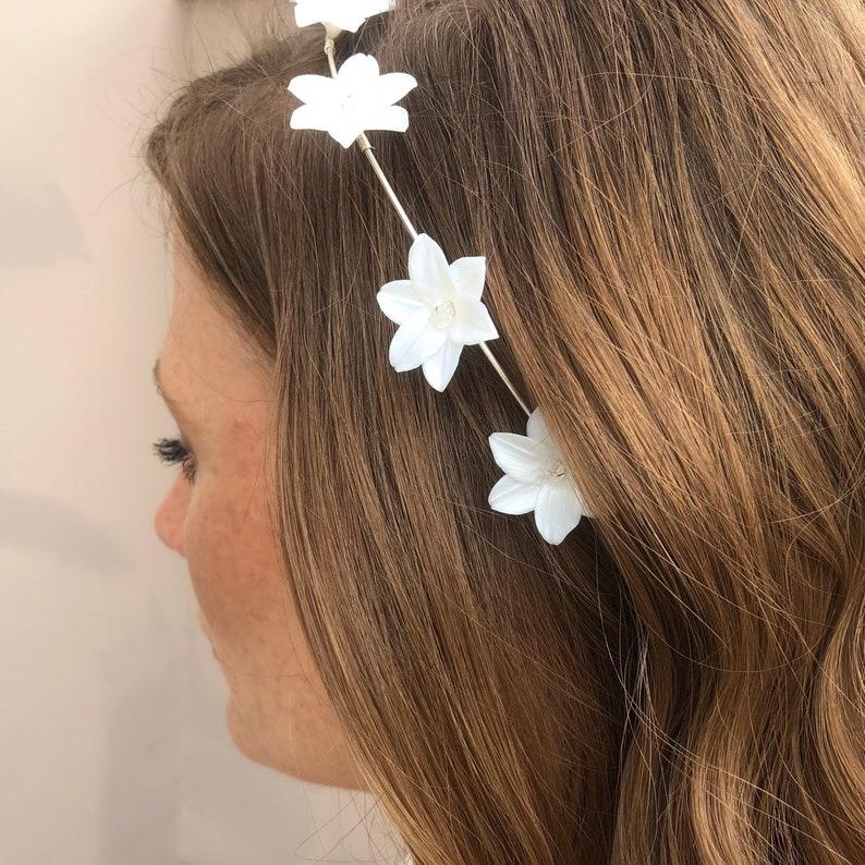 Floral Headband White Flower Wedding Headband Wedding Hair Accessory White Wedding Headband