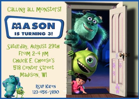 Monsters Inc Invitation, Monsters Inc Birthday Invitation, Monsters Inc  Birthday, Monsters Inc Party