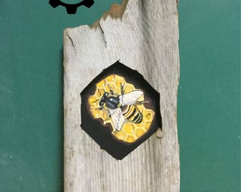 Honey Bee Barnwood Art