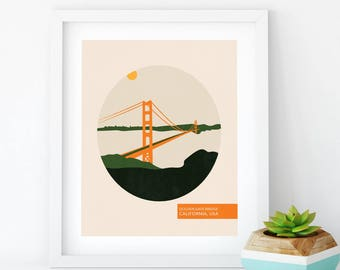 Golden Gate Bridge - Travel Posters Vintage - San Francisco Poster - Art Print - Gift For Traveller - Minimalist Poster - Wall Hanging