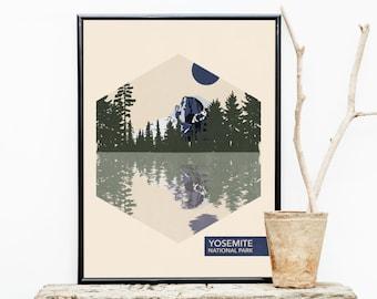 Yosemite National Park Poster - Travel Poster - National Park Travel Poster - Minimalist Poster – Stocking stuffer  - Christmas Gift