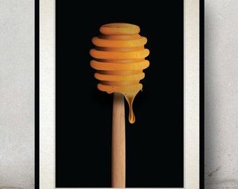 Cooking Poster - Honey Art - Kitchen Art - Kitchen Poster - Honey Spoon - Wall Decor - Wall Hanging - Wall Art