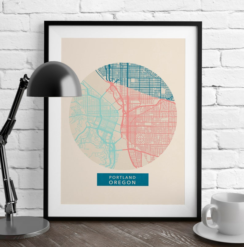Portland Oregon Portland Map Map Prints Romantic Wall | Etsy