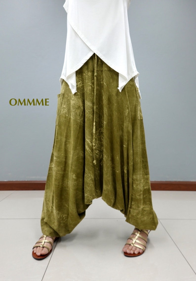 NEW Marble harem pants green