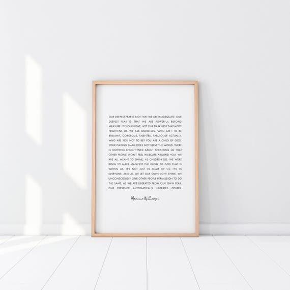 & Our Deepest Fear Marianne Williamson Printable Wall Art