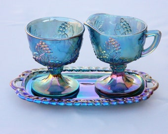 Carnival Glass Set - vintage Indiana Glass Co Iridecent Carnival Glass Sugar, Creamer & Tray Set 0470; Complete in box