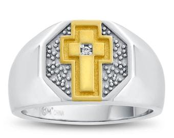 Cross Signet Ring, Christian Signet Ring, Men's Two Tone Cross Ring, Sterling Silver Cross Ring, Faith Ring, Religious Ring, Diamond Cross
